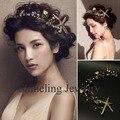 Gold Leaf Crystal y perlas boda estrella de mar diadema tocado accesorios nupciales del pelo