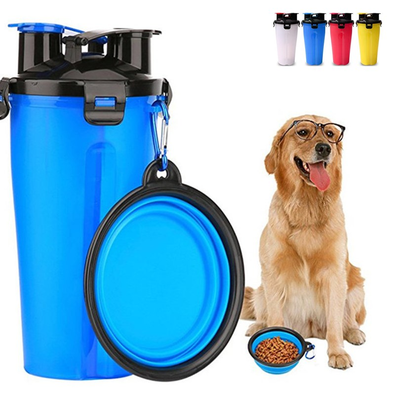 Portable Dog Water Bowl >> Pet Bottle Feeder 2 In 1 Portable Food Water Cup And Foldable Dog