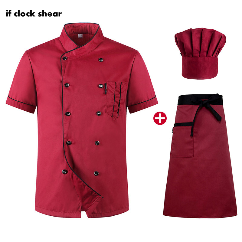 Short Sleeved Restaurant Chef Uniforms Hotel Kitchen Chef Clothes Men And Women Uniforms Breathable Jacket + Hat + Apron Summer