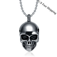 TIGRADE Fashion Punk Jewelry Men's Gothic Skull Skeleton Stainless Steel Pendant Necklace 1.6*.08 Inch For Unisex Gift Sale