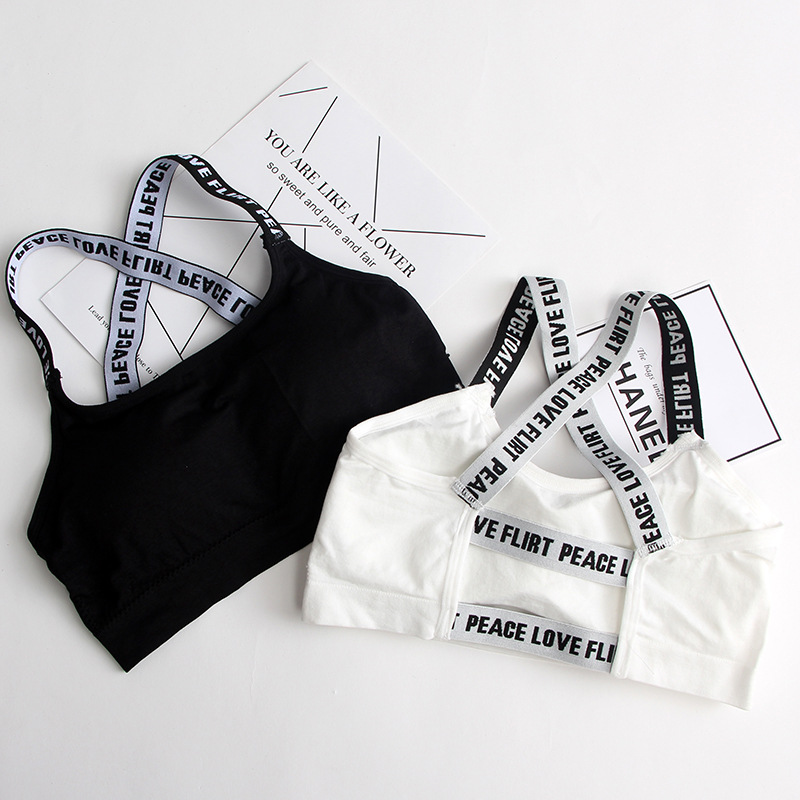 Women Sport Bra Fitness Top Letters Yoga Bra For Cup A-D Black White Running Yoga Gym Fitness Crop Top Women Push Up Sports Bra image