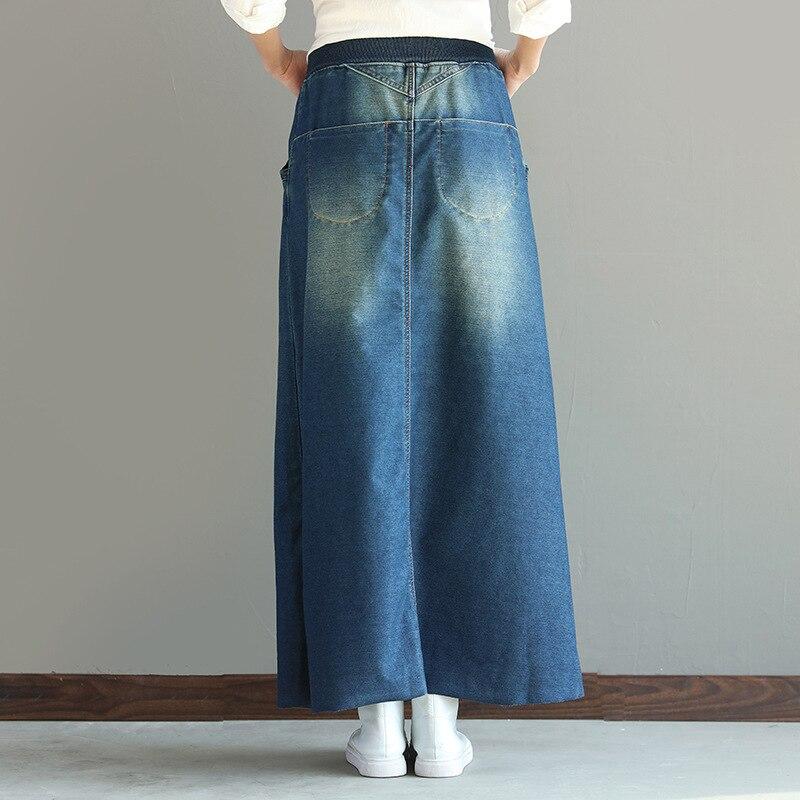 52804b5a74e Девушка трикотажные джинсовые юбки молотый белый юбка в длинные ...