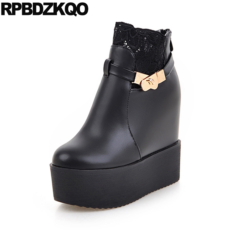 Waterproof Women Ankle Boots 2016 Round Toe Muffin Black Casual Height Increased Fur Shoes Winter Flat Booties Platform New 2017 front lace up casual ankle boots autumn vintage brown new booties flat genuine leather suede shoes round toe fall female fashion
