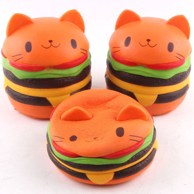 Squishy Cat Hamburger Food Squishys Cake Stress Reliever Slime toys Scented Squeeze Slow Rising Fun Toy Birthday Gift Hobbies