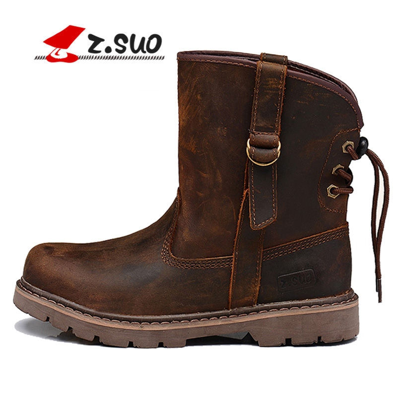 Fashion Cowhide Genuine Leather Warm Winter Snow Boots Back Strap Martin Boots Steampunk Shoes ZT40