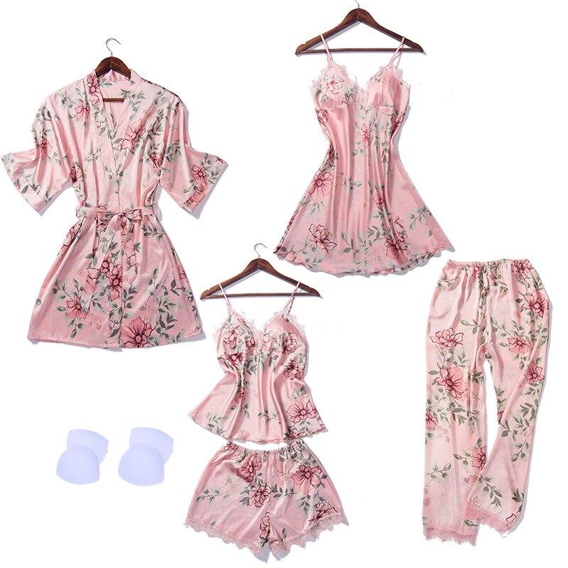 2019   pajamas   for women 5 Pieces Satin Sleepwear Pijama Silk Home Wear   set   Sleep Lounge with Chest Pads   pajama     sets   sleepwear