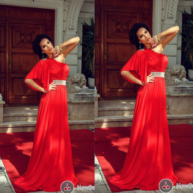 Red   Prom     Dresses   One Shoulder A-Line Ruched Bodice Beading Chiffon Court Train Pleat Evening Party Formal Gowns