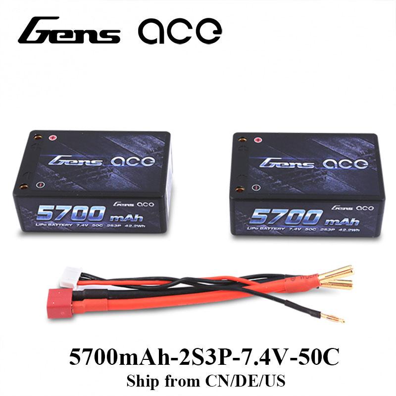 Туза gens 2S3P 5700mAh Липо Аккумулятор Липо 7.4 V Аккумулятор 50С Аккумулятор для 1/10 автомобилей RC автомобилей 1/8 RC беспилотный Аксессуары для автомобилей