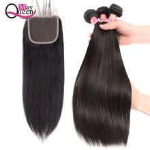 Прямые пучки с закрытием малазийские волосы пучки с бесплатной частью Кружева закрытия может королева натуральные волосы не Реми волосы плетение