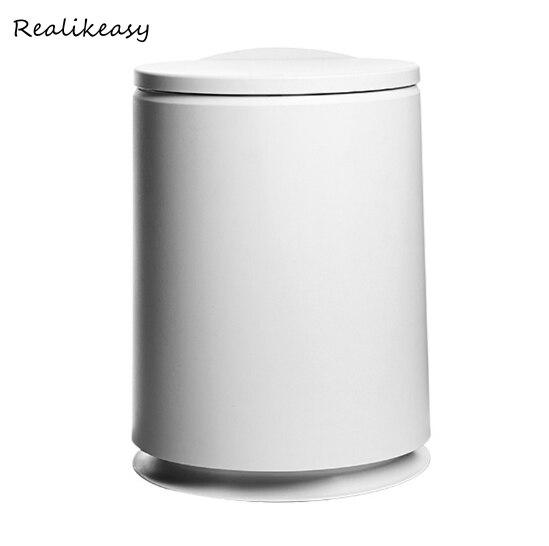 Type de pressage à chaud poubelle en plastique de Type rond couverture Flip de balle Simple salon toilette poubelle bureau papier panier LFB132