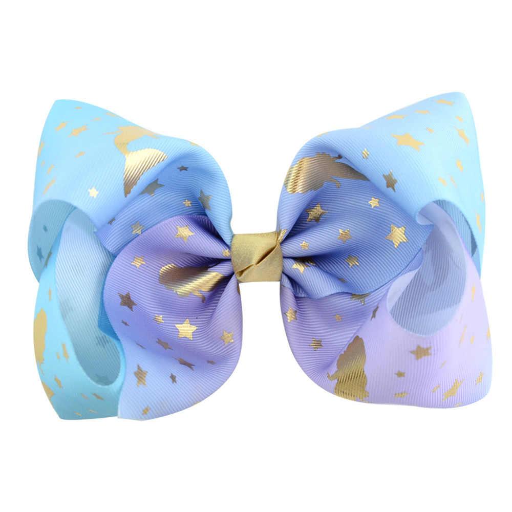 Mermaid Unicorn Print Jumbo Jo jo Bows 6 PCS 8 inch Huge Hand-Made Hair Bows For Thick Hair Women Hair Accessories For Teens