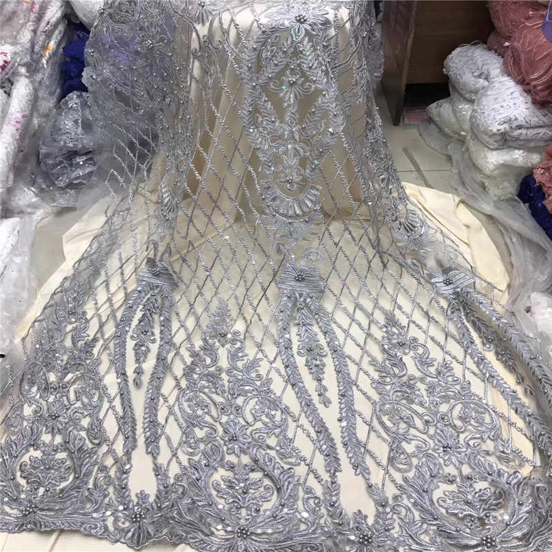 Beautiful Silver Grey 3 D Lace Applique Flower Nigerian Lace Fabric With Beads Sell Well Hign Quality Lace Trim Dress F1204