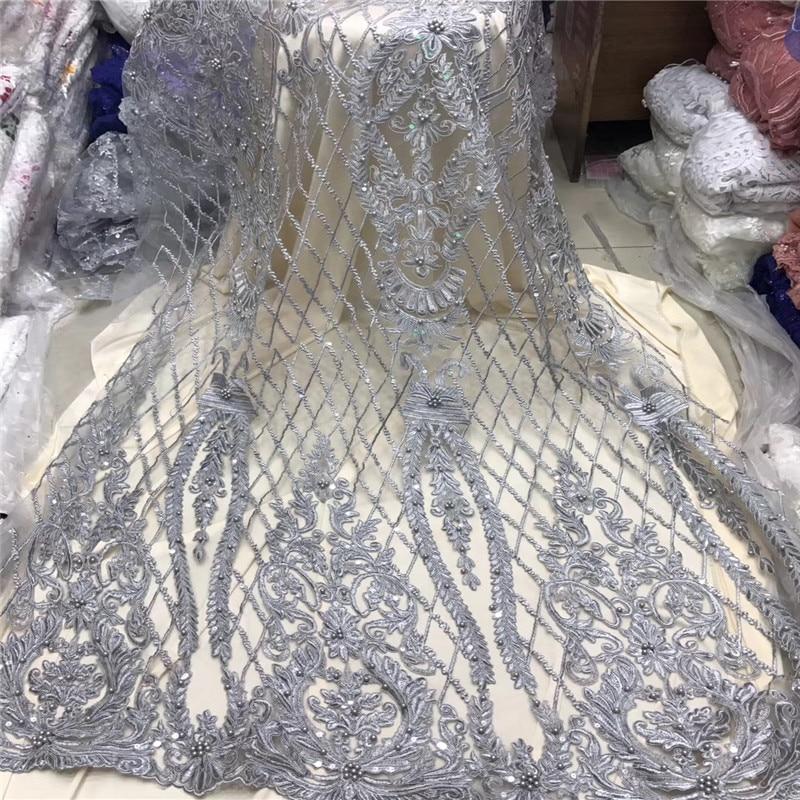 جميلة الفضة رمادي 3 D الدانتيل زين زهرة الدانتيل النيجيري النسيج مع الخرز بيع جيدا Hign حيث جودة الدانتيل تقليم اللباس f1204-في دانتيل من المنزل والحديقة على  مجموعة 1