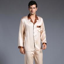 Новое поступление модные, пикантные Для мужчин шелковые пижамы установить мужской с длинными рукавами пижамный комплект мягкие уютные для сна комплект одежды для дома Бесплатная Доставка