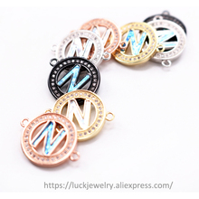 5pcs/lot Luck Jewel Enamel 26 Alphabet Letter N Micro Pave CZ Rhinestone For DIY Necklace Bracelet Accessories jewelry findings