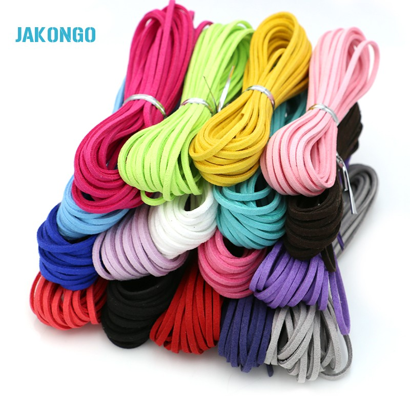 JAKONGO Flat Faux Suede Korean Velvet Leather Cord DIY Rope Thread Jewelry Making Decorative Handicrafts Accessories 3mm