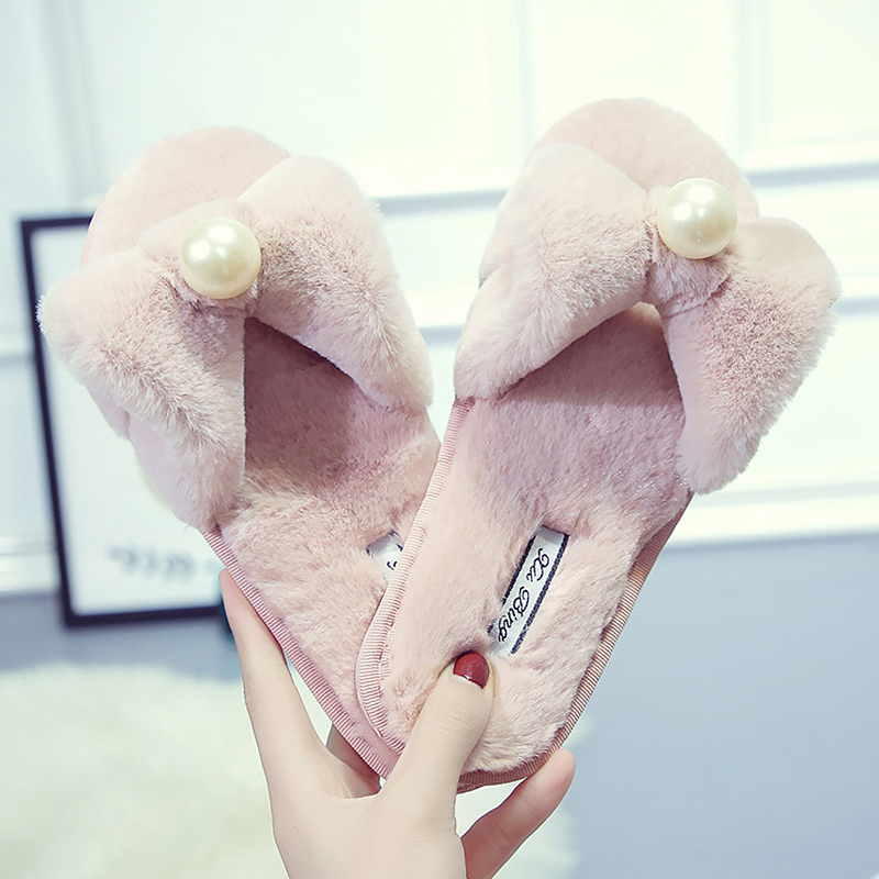 Flock Fur Slippers Crystal Oudoor Female Rubber Butterfly Knot Light Weight Plush Flat Shoes For Ladies Super Star