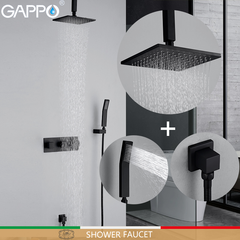 GAPPO Shower Faucets black bathroom shower faucet bathtub faucet mixer tap wall mounted bathroom shower mixers аксессуар gappo g8001
