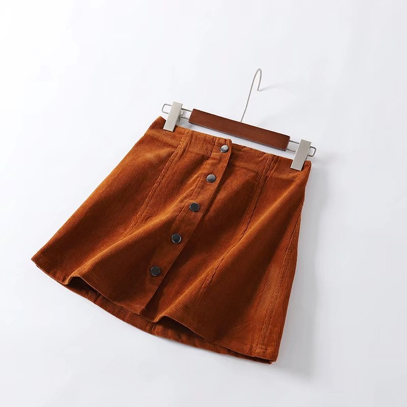 Women's Mini Corduroy Skirt With Buttons Black Skirt Corduroy Skirts Womens A Line Short Buttons Woman Ladies Skirts For Women