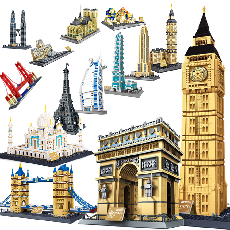 WanGe city 2019 Architecture Taj Mahal London Paris town bridge building blocks children assemble bricks toys(China)