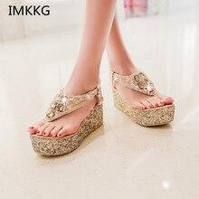 Sandalias de tacón alto y plataforma con diamantes de imitación para mujer, zapatos a la moda, color dorado y plateado, para verano, Q298