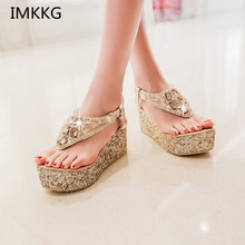 Women shoes High heels platform Sandals Rhinestone Summer sandals for women Fashion Cool Gold Silver Q298