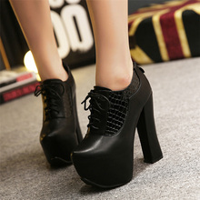 Free transport autumn ladies's 14cm extremely excessive heel lace up platform quick boots thick heel comfy work boots