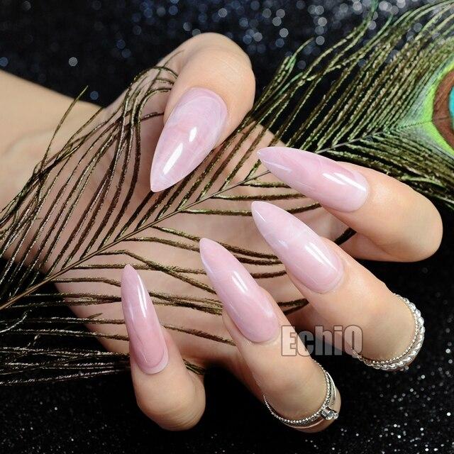 Long Pointed Fake Nail Tips Sweet Light Pink Marble Pattern Full ...
