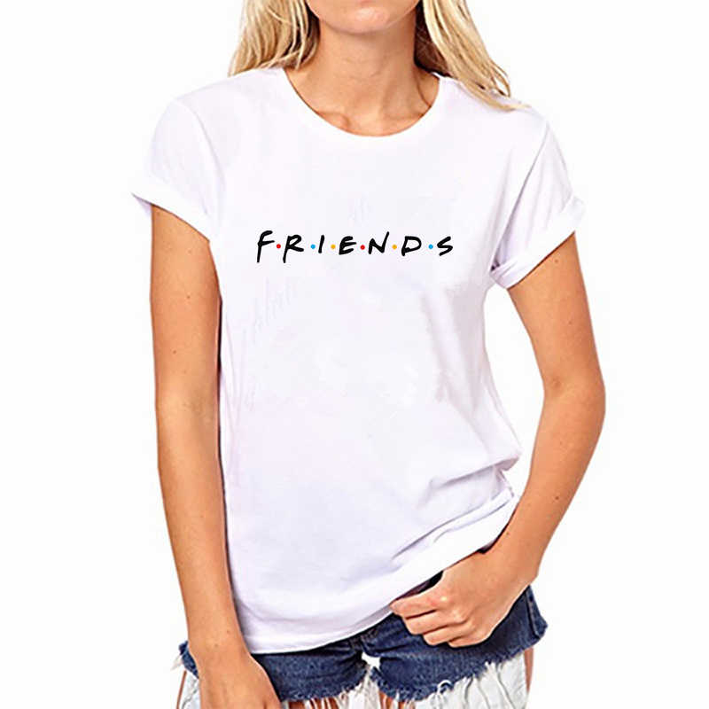 CDJLFH Fashion FRIEDNS Letter Print Women Tees Short Sleeve O-neck Best Friend Tshirt 2019 Summer White Top S M L XL XXL Size