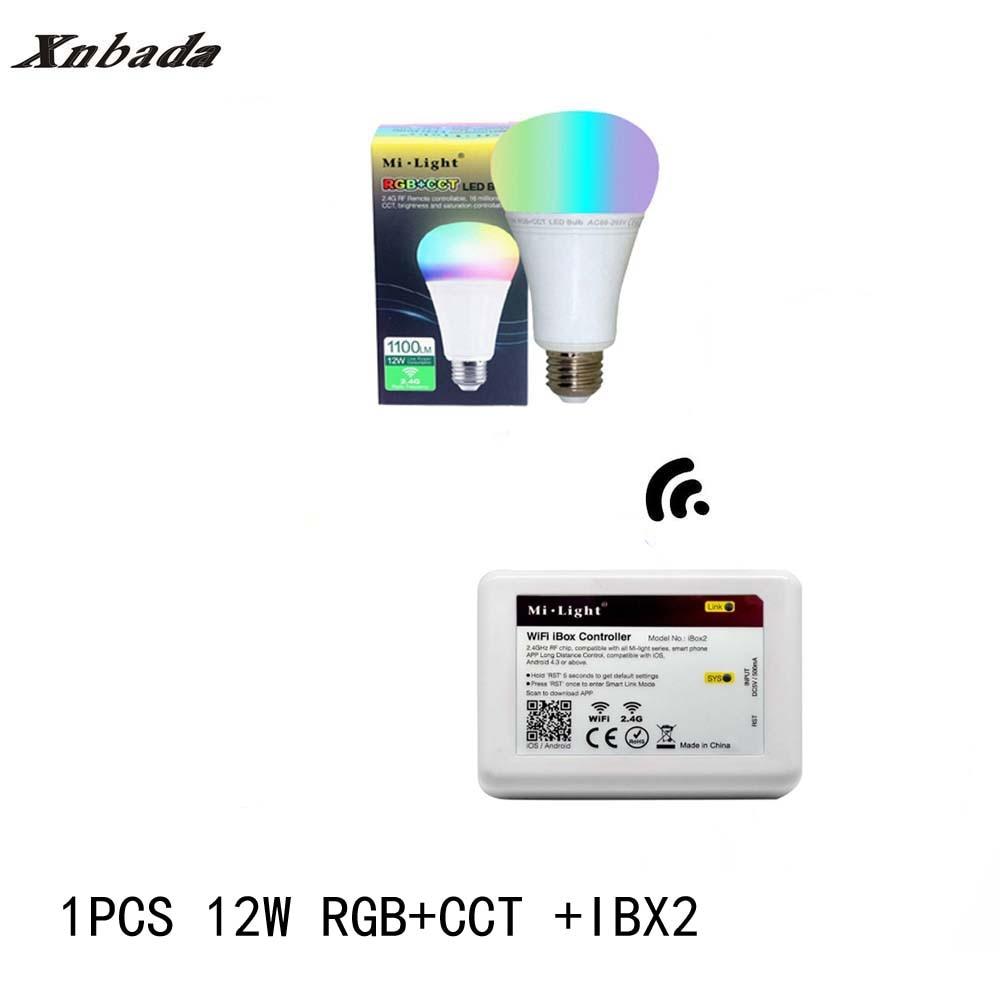 Mi lumière 12 W lampe à Led E27 RGB + CCT Led ampoule + iBX2 RF télécommande wifi Led projecteur lumière variateur Led lumière AC85-265V livraison gratuite - 4