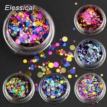 Elessical 6 pcs/set Nail Art Glitter Sequins Color Mixed Nail