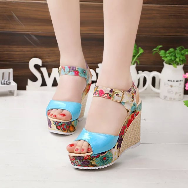 51da8b61a3e New Summer Fashion Women Fish Mouth Sandal Female Bohemian Muffin Hill Heel  Shoes High Heel Platform Shoes Woman Wedge Shoes-in High Heels from Shoes  on ...