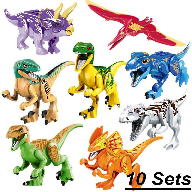 10 مجموعات/وحدة الديناصورات العالم بارك القديمة ترايسيراتوبس ستار الحرب يتصاعد الديناصور قوالب بناء كتل لعب 79151 77001 77037-في حواجز من الألعاب والهوايات على  مجموعة 1