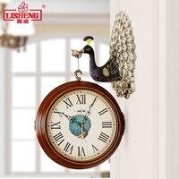 Pavão europeu Double-sided Relógios Personalidade Criativa Relógio de Parede Sala de estar Moderna Decoração Arte Relógios de Parede Mudo