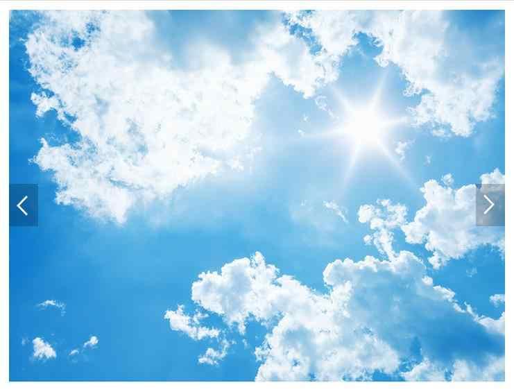 Foto Kustom Wallpaper 3D Wallpaper Langit langit Mural HD 3 D Putih Langit Biru Awan Sinar.jpg q50