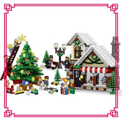 New LELE 39015 Toy building blocks CREATOR my world Christmas hut winter toy store Cinderella 10249 Brick Figures gift 945pcs my christmas cd