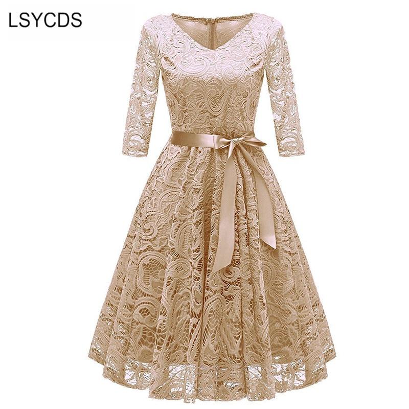 2018 Autumn Vintage Lace Dress Women Elegant V Neck Three Quarter Sleeve A-line Dress Apricot Retro Casual Vestidos De Festa