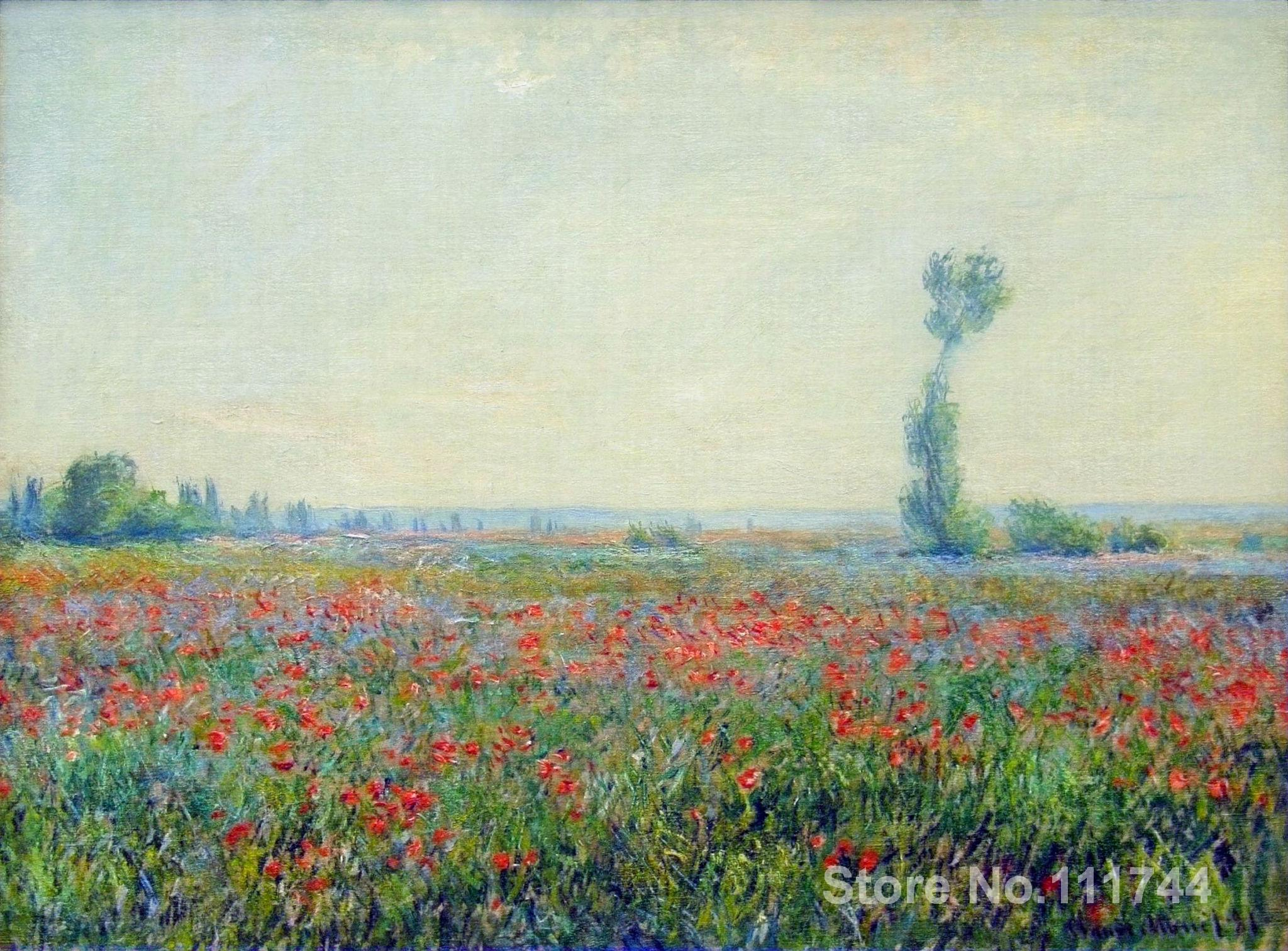 famous Handmade Oil Painting Poppy Field by Claude Monet Reproduction decorative art High quality