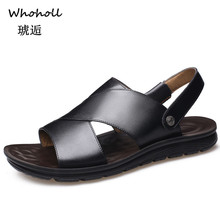 Whoholl Classic Men Soft Sandals Comfortable Summer Shoes Genuine Leather Roman 38-44
