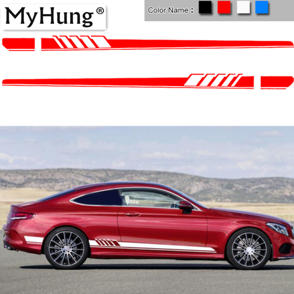 2Pcs Auto Side Skirt Car Stickers And Decals Racing Stripe Vinyl Car Styling Labels Body Sticker Accessories For Mercedes Benz car styling auto amg sport performance edition side stripe skirt sticker for mercedes benz g63 w463 g65 vinyl decals accessories