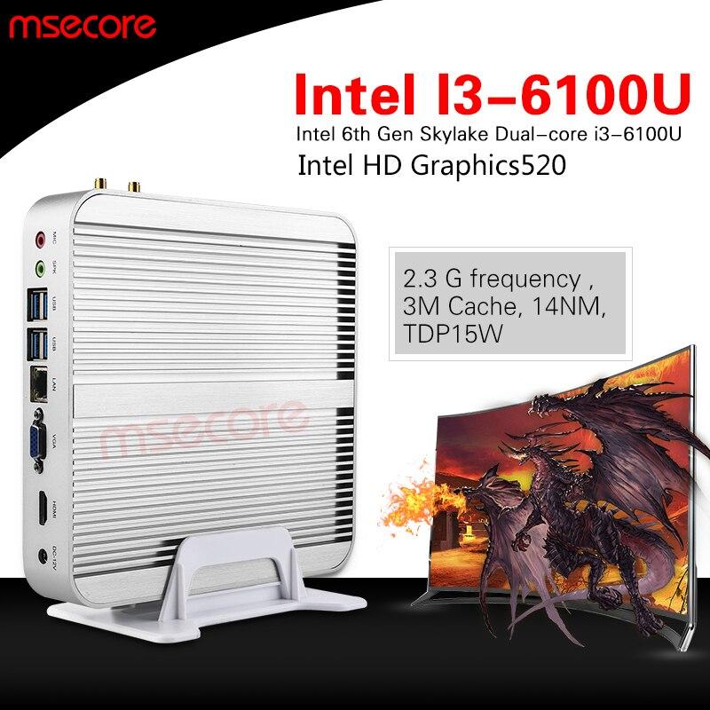 Sin ventilador intel i3 6100u mini pc windows 10 ordenador de sobremesa nuc stic