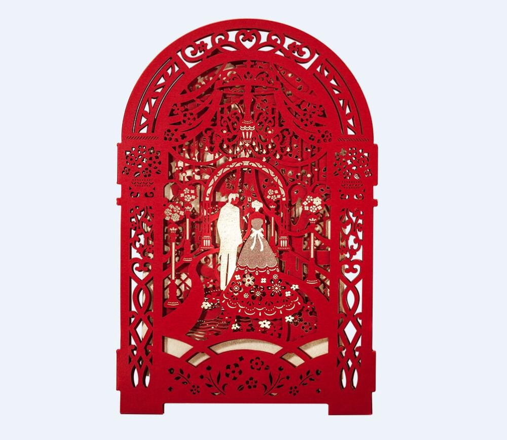 3D Palace Chinese wedding invitation cards, Love Castle Luxury laser ...