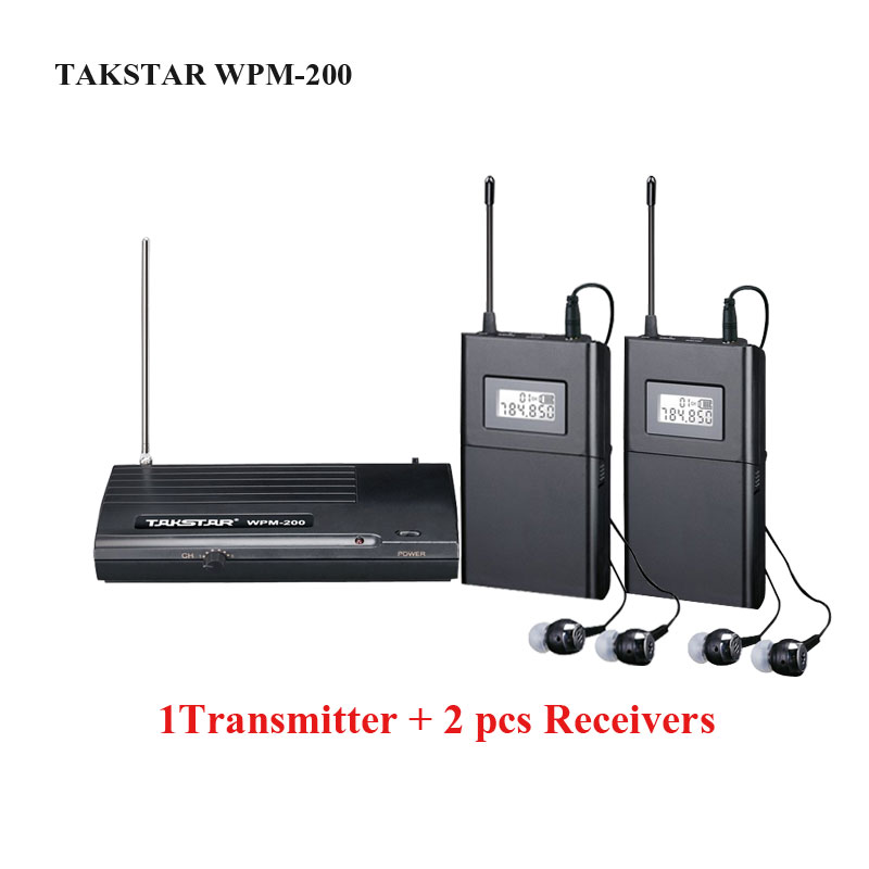 Takstar WPM-200/WPM 200 Wireless Monitor System In-Ear Stereo Wireless Headset Stage monitors system 1 Transmitter 2 Receivers ukingmei uk 2050 wireless in ear monitor system sr 2050 iem personal in ear stage monitoring 2 transmitter 2 receivers