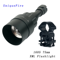 75MM USB Rechargeable Flashlight, Modes LED Toroch ,T6 White Light Switch 10000 LM Zoomable Lanterna +Scope Mount