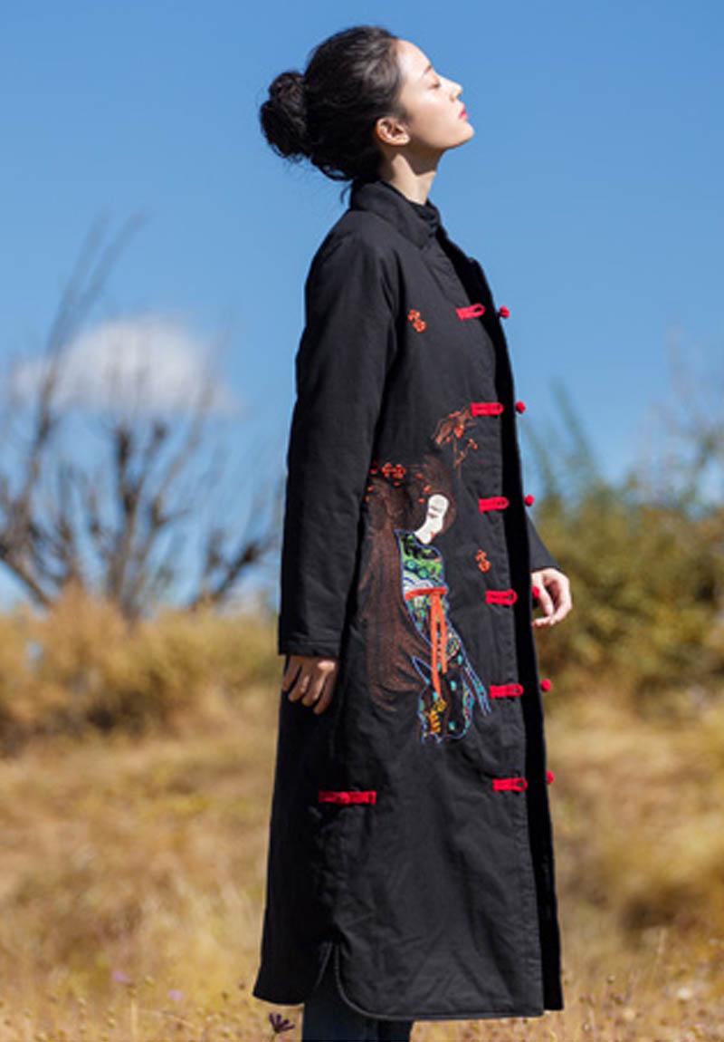 Embro moulin automne manteaux pour femmes vintage royal broderie style chinois haut de gamme fleurs dame lâche trench manteau femme M-XXL - 2