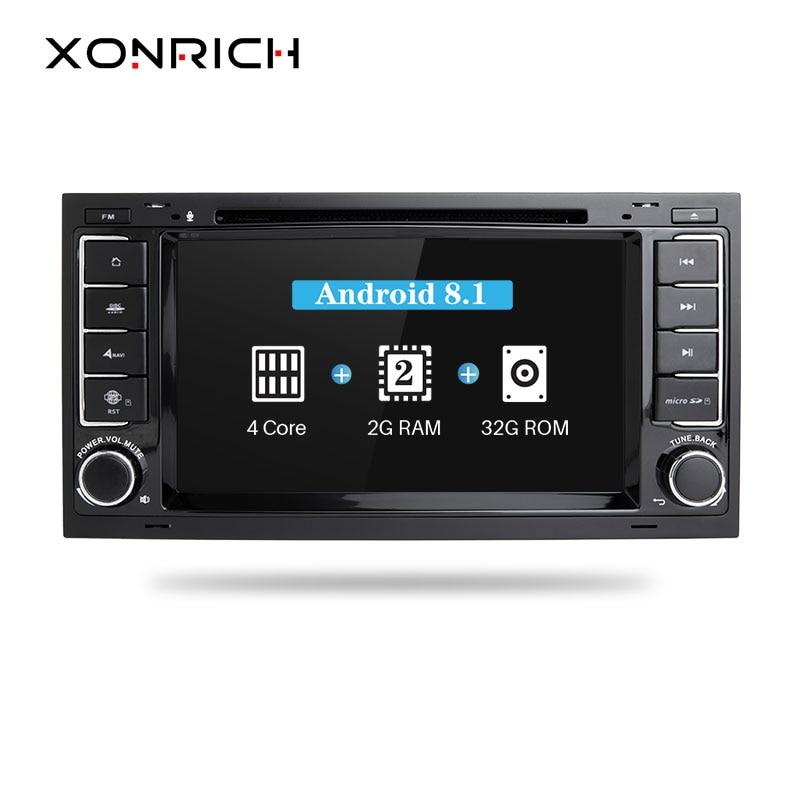Xonrich Car Multimedia Player Android 8.1 2Din DVD AutoRadio For VW Volkswagen Touareg Transporter T5 GPS Navigation Audio2G RAM