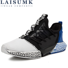 2019 LAISUMK Casual Men Shoes Cool Punk Printed Lace-Up High Top Mesh For Man Male Comfort Leisure Flats Breathable