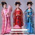 Trajes de dança tradicional chinesa para crianças mulheres meninas para crianças fan luva dress mulher roupas antigas hanfu traje popular