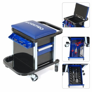 Image 3 - WORKPRO 135PC Tool Set Movable Workbench Seat car repair tool kit stool socket set mechanical hand tools sets box for car repair