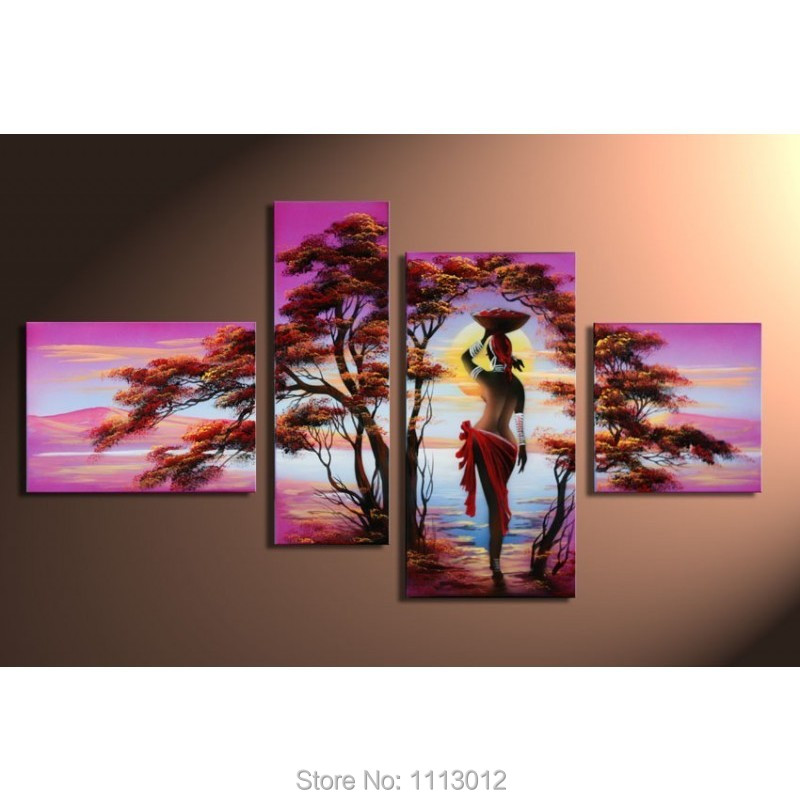 Modern Africa Nude Sexy Female People Tree Oil Painting On Canvas 4 Pcs Art Set Home -2095